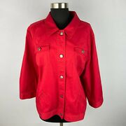 Christopher And Banks Red 3/4 Sleeve Button Down Jacket Xl