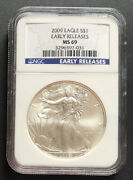2009 Silver Eagle Pcgs Ms69 Early Releases Spots On Coin - Enn Coins 031pb