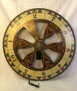 Vintage Two Sided Carnival Game Wheel Of Chance Painted Wood 31 1/2