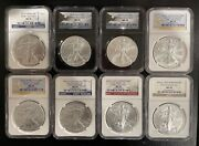 Ngc Ms70 U.s. Silver Eagle Investment Lot Of 8 Coins - 2011 2012 2015
