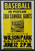 Vintage 1930and039s Zulu Cannibal Giants Baseball Promo Sign Negro League 14x 20.75