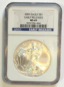 2009 Silver Eagle Ngc Ms69 Early Releases Scratched Case - Enn Coins 454pb