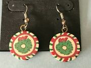 Vintage 90and039s Handmade Artisan Fimo Polymer Clay Christmas Red Green Earrings