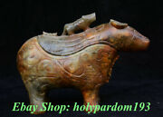 9 Old Chinese Old Xiu Jade Hand-carved Palace Rhinoceros Bull Incense Burner