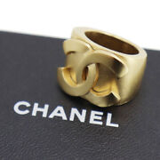 Cc Logos Gold Finger Ring Gold-plated France Vintage Authentic Uu435 Y