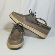 Sperry Top-sider Cup Suede Leather Boat Shoes Gray Menand039s Sz 9.5 Casual Nautical
