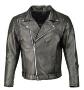 M Boss Motorcycle Apparel Bos11505 Menand039s Black Armored Vented Leather Jacket