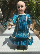 Silk Doll Dress Outfit X Antique Jumeau 10 French Bisque Doll