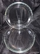2 Vintage Pyrex 229 Clear Glass Deep Dish 9.5 Scalloped Fluted Edge Pie Plates