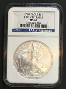 2008 Silver Eagle Ngc Ms69 Early Releases Scratched Case - Enn Coins 178pb