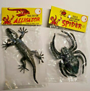 Vintage Dime Store Toy Plastic Spider And Lizard Made In Hong Kong 1960's Nos