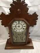 Antique Ingraham Parlor Kitchen Mantle Clock With Chime Works