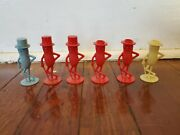Vintage Mr Peanut Salt And Pepper Shakers 6 Total 3 Without Tops 3 Colors