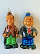Christopher Radko Laurel And Hardy Characters Glass Christmas Ornaments