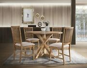 5pc Transitional Dining Set Round Table And 4 Side Chair Antique Naturaloak Finish