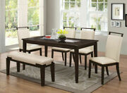 6pc Transitional Dining Set Table Bench And 4 Off-white Side Chair W/espresso Legs