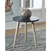 18 Navy Blue Accent Table Round Small End Side Brown Tan Wood Stand Brown Stool
