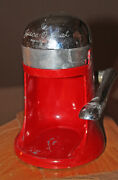 Bright Red Art Deco Mid Century Modern Lift Top Juice O Mat Juicer All Pieces