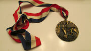 Vintage 1940's-1960's Volleyball Medal Award Bronze Plated Pot Metal 2.5x2.5