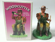 Antique Tin Toy Woodcutter Alps Trading Collection Made In Japan Old Vintage