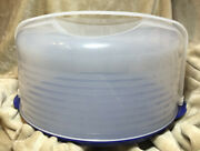 Tupperware 3062 Round Cake Pie Taker Carrier Blue Base Sheer Domed Top