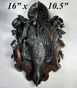 Antique Hand Carved Swiss Black Forest Game Plaque Fruits Of The Hunt Duck