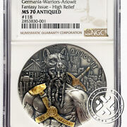 2020 Ngc Ms70 Antiqued Germania 10 Mark The Warriors Arowit 2 Oz 9999 Silver