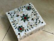 Egyptian Handmade Wood Jewelry Box Inlaid Mother Of Pearl And Copper 8x8