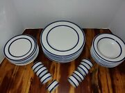 Totally Today Colbalt Blue Stripes Service For 8 Plates Bowls And Napkin Rings