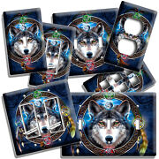 Spiritual Karma Wolf 4 Earth Elements Light Switch Outlet Wall Plates Room Decor