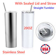 20oz Sublimation Blank White/silver Skinny Tumbler Insulated Water Bottle 10pcs