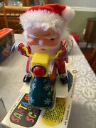Santa Claus On Scooter Tin Litho And Plastic Battery Operated Toy Vintage Works