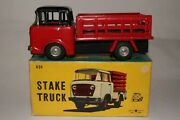 Bandai Toys, 1950's Jeep Tin Friction Stakebed Truck With Original Box, Nice