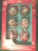 Disney Store Mickey And Minnie Mouse Christmas Ball Ornaments 2020 - Set Of 6 Htf