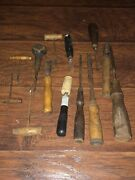 Assorted Vintage Wood Carving Tools Chisles
