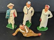 Lot Of 4 Cast Barclay Nurse 744, Barclay Doctor And Nurse And Wounded Soldier