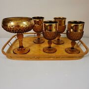 Vtg Indiana Amber Glass W/diamond Cut Pattern And Gold Trim Goblets And Candy Dish
