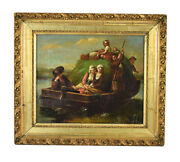Antique Early 19th C. Dutch Oil Painting Shy Young Women On Hay Barge W Villager