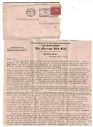 1923 Us Cover - Marriage Bells Club Cleveland Ohio W/ 2 Page Letter J4