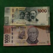Lot Of 2 Different Types 1000 Pesos Bills Currency Current Mexico Au-unc