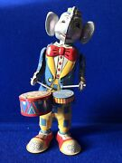 Vintage Tk Kitahara Fossil Elephant Playing Drums, Wind-up