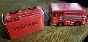 Vintage Mcneil Laboratories The Little Red Fire Truck Tylenol Box And Bottle C1955
