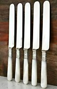 5 Antique Rogers Bros 1847 Sterling Silver Butter Knife Mother Of Pearl Handle