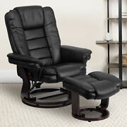Contemporary Leather Recliner With Horizontal Stitching And Ottoman With Swiv...