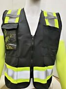 Fx Two Tone Hi-vis Black Safety Vest With 4 Front Pocket Small To 2xl