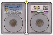 Norway Silver 10 Ore 3 Skilling Coin 1874 Year Km345 Pcgs Grading Xf