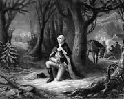George Washington Prayer At Valley Forge Painting On Real Canvas 8x10 Art Print