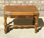 Vintage Carved Side Accent Table Jacobean Baroque Style Medium Wood Tone