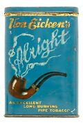 Rare 1920s Alright Vertical Litho Hinged Pocket Tobacco Tin In Very Good Cond.