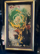Old Asian Abstract O/c Signed U/r